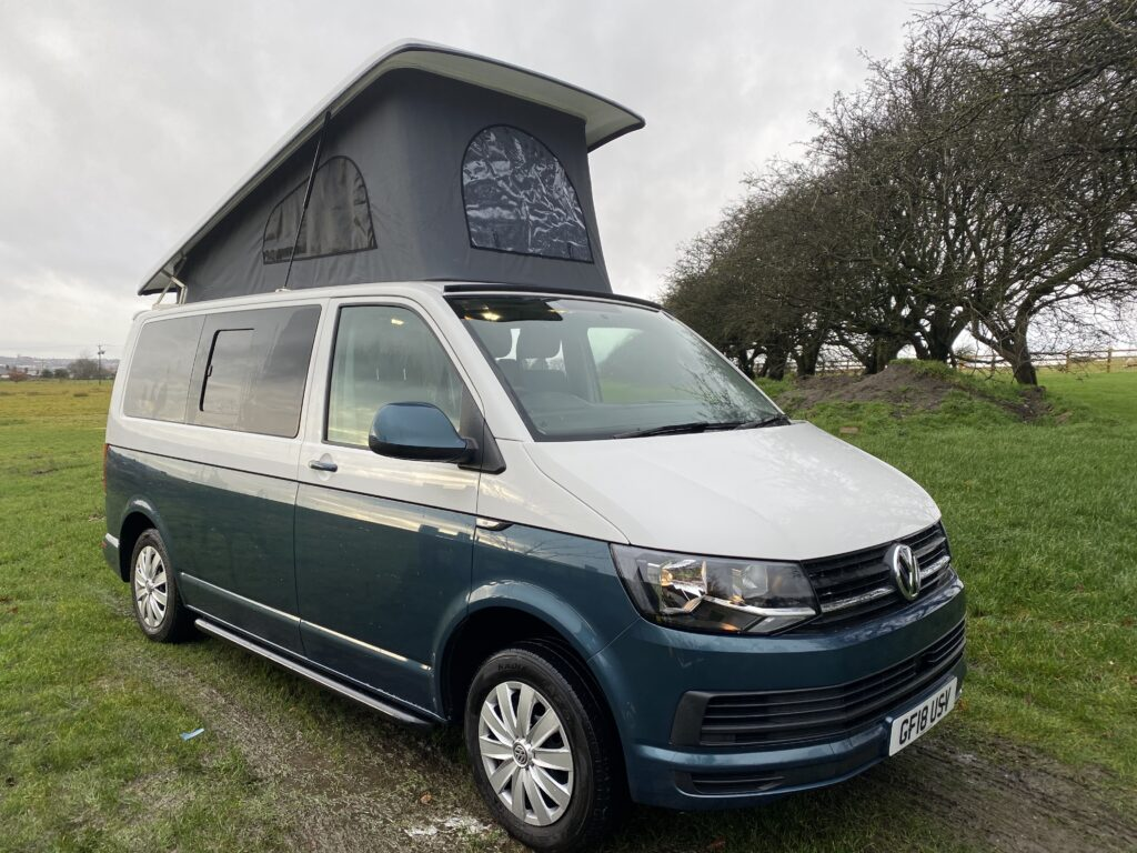 Grey and White VW 'Hellvellyn' VW campervan for hire in the Lancashire area with Breakout Campers.Campervan for hire
