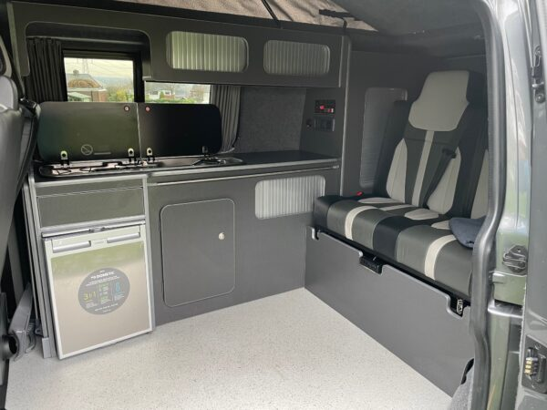 Kitchen area in the Bowfell VW Campervan for hire with Breakout Campers