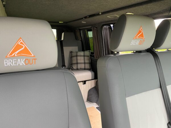 Front seats in a VW Transporter Campervan hire with Breakout Campers