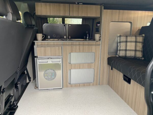 Inside a VW Transporter Campervan, Available to hire with Breakout Campers in Lancashire