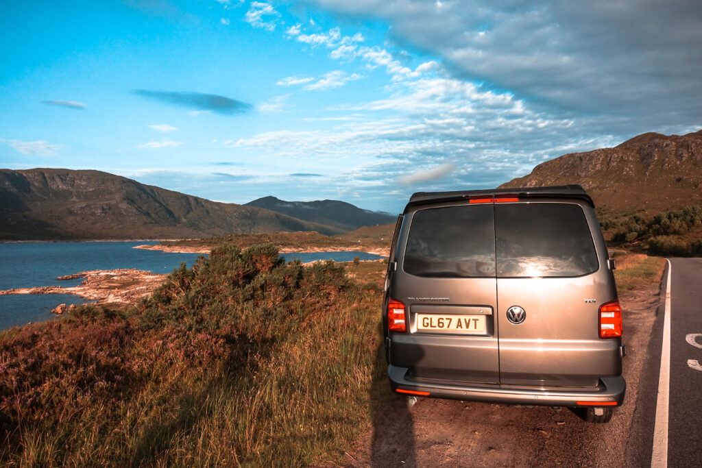 Campervan and beautiful scenery hired through Breakout Campers