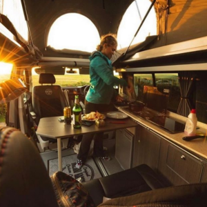 Cooking in a campervan hired through Breakout Campers