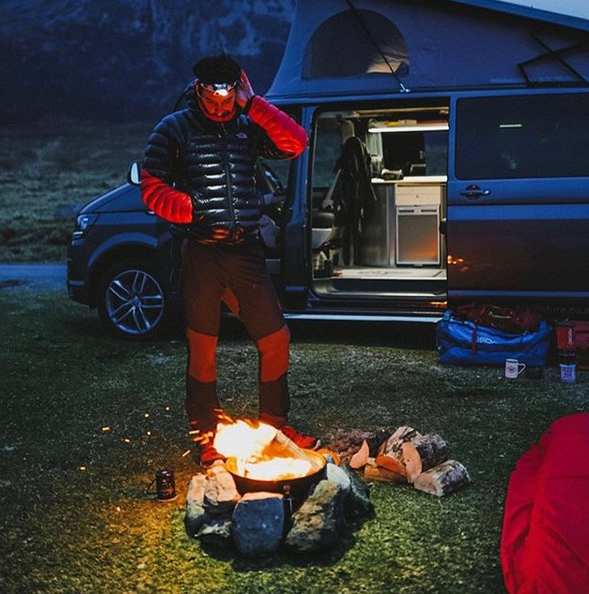 Camp Fire and rural camping holiday